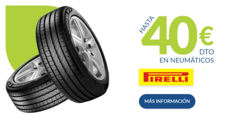 Hasta 40€ de descuento directo en Pirelli